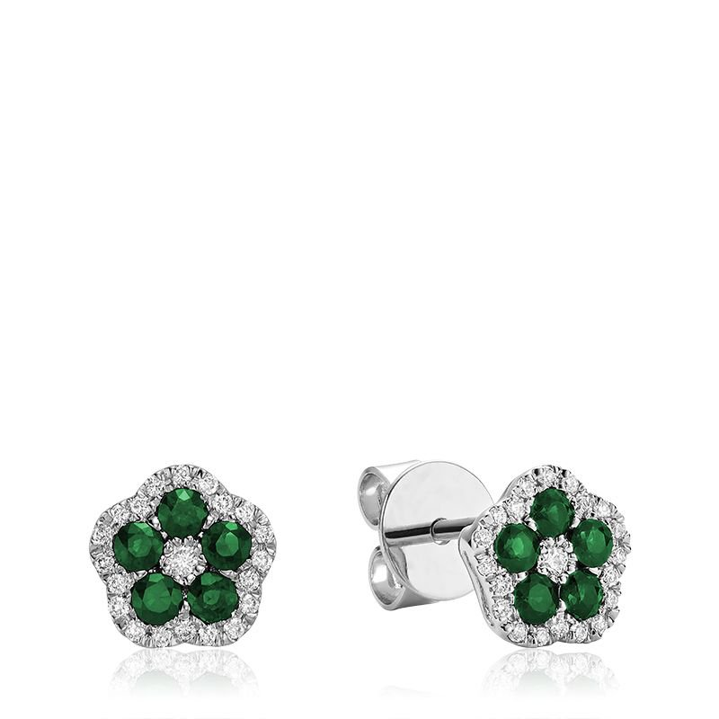 RNB Bijoux Jewellery Hollow Flower Emerald & Diamond Stud Earrings