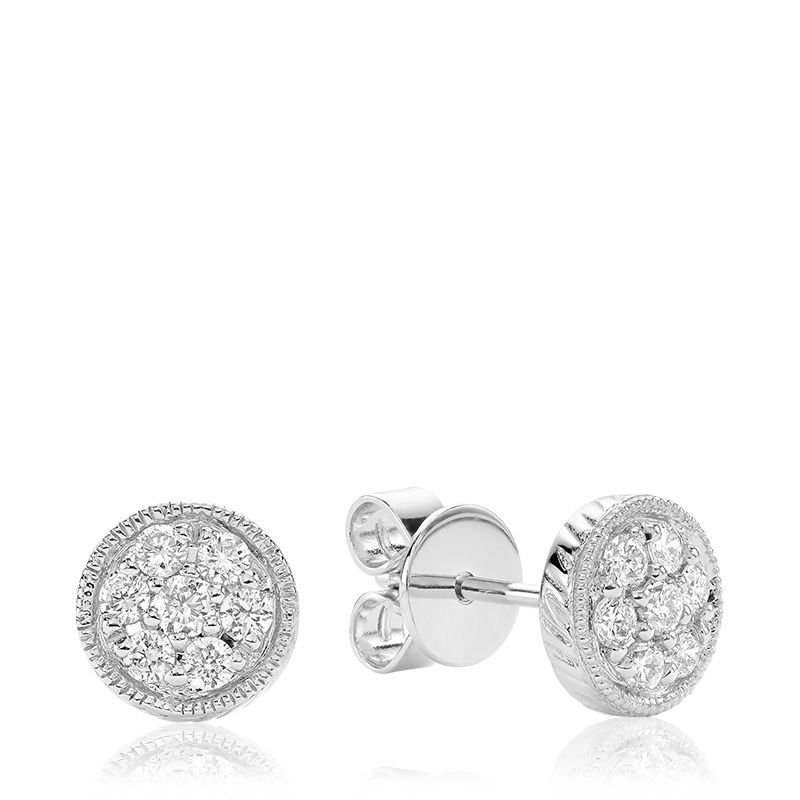 RNB Bijoux Jewellery Round Milgrain Diamond Stud Earrings