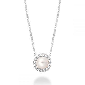 Freshwater Pearl & Diamond Pendant