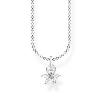 Necklace Flower White Stones