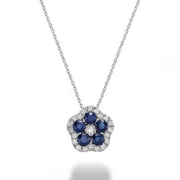 Hollow Flower Blue Sapphire & Diamond Pendant