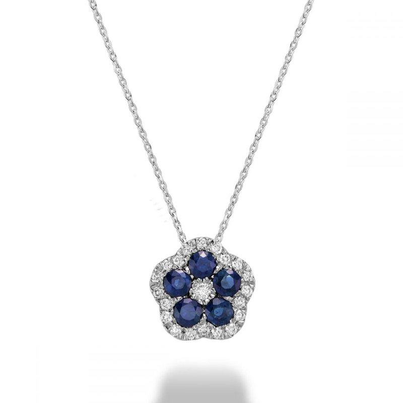 RNB Bijoux Jewellery Hollow Flower Blue Sapphire & Diamond Pendant