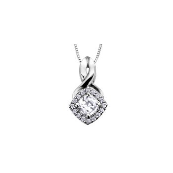 White Zircon and Diamond Halo Pendant