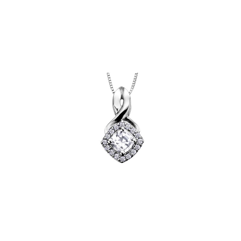 The Collection White Zircon and Diamond Halo Pendant