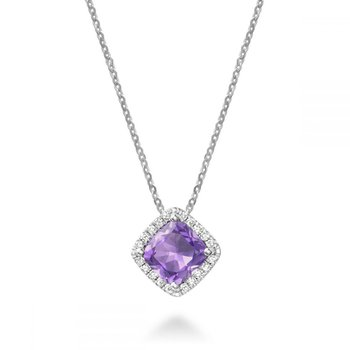 Cushion Cut Amethyst & Diamond Halo Pendant