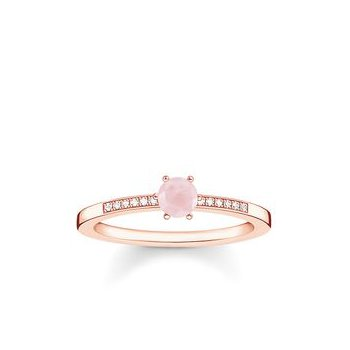 "Sterling Silver Rose Plated Diamond and Rose Quartz Ring ""Pink Stone"""