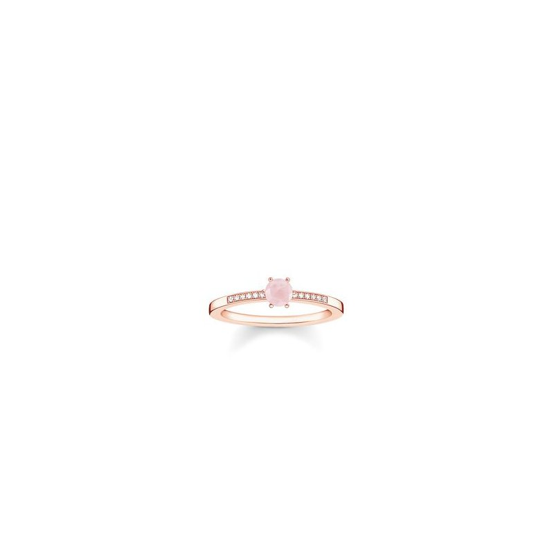 """Thomas Sabo Sterling Silver Rose Plated Diamond and Rose Quartz Ring """"Pink Stone"""""""