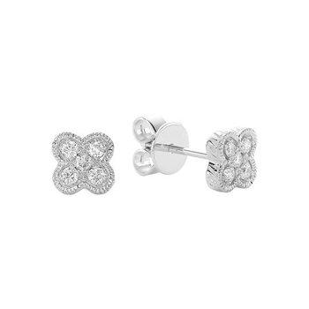 Clover Milgrain Diamond Stud Earrings