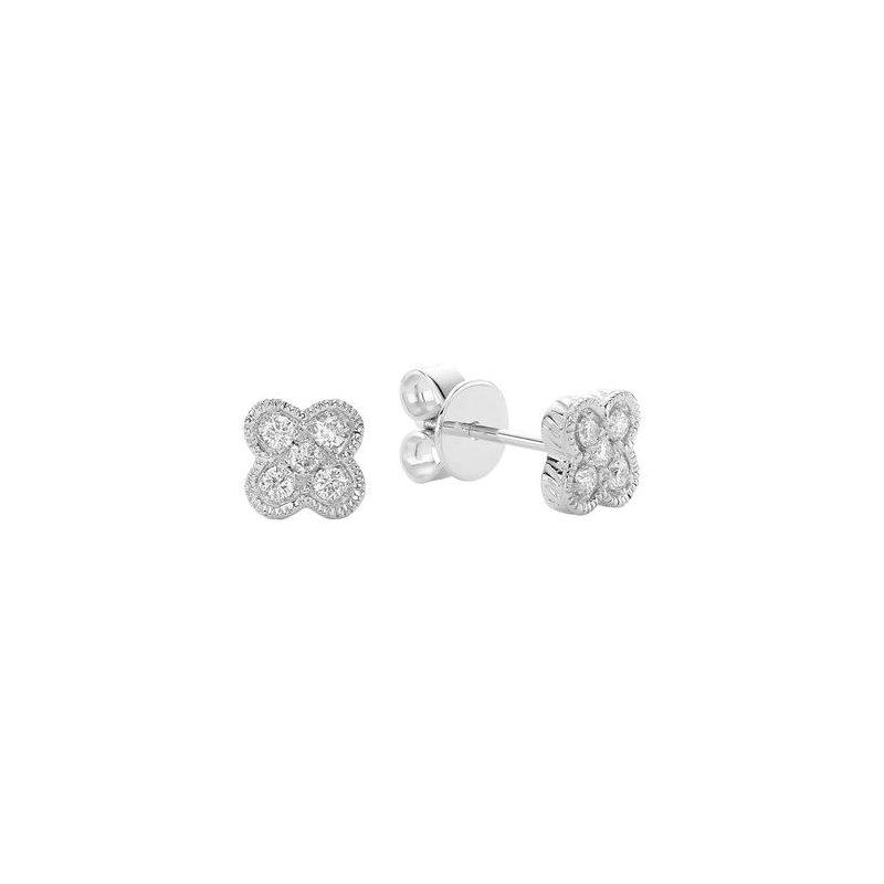 RNB Bijoux Jewellery Clover Milgrain Diamond Stud Earrings
