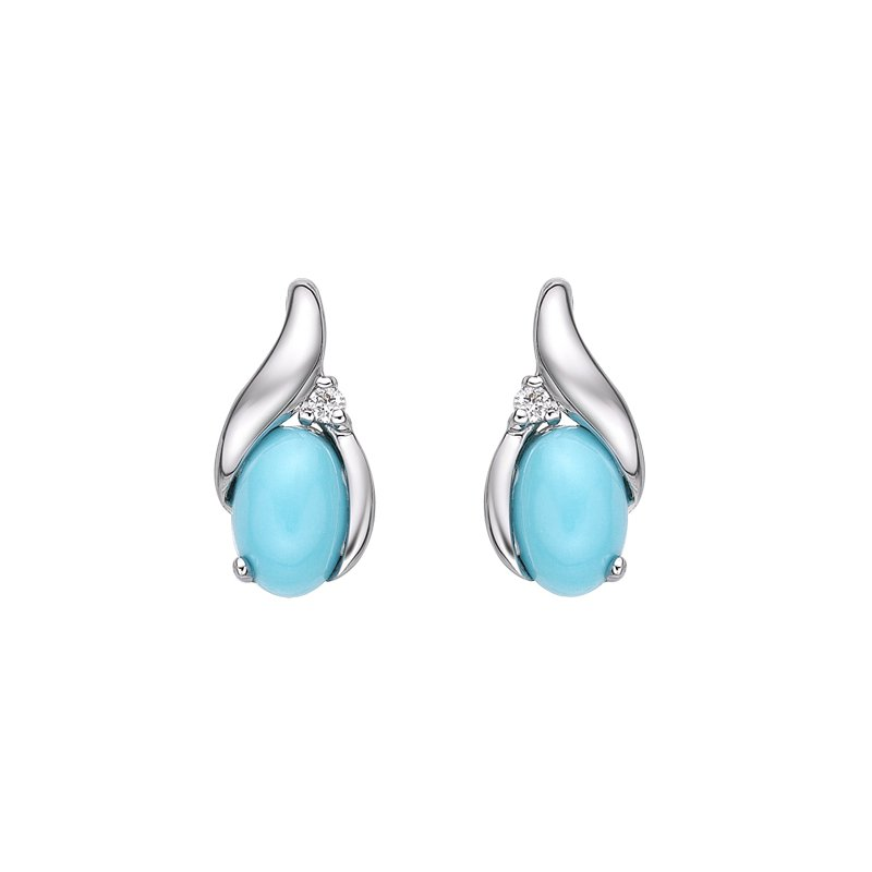 The Collection Turquoise And Diamond Earrings