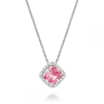 Cushion Cut Pink Quartz & Halo Diamond Pendant