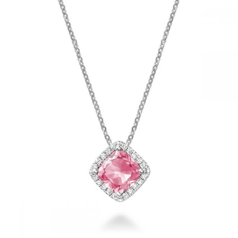 RNB Bijoux Jewellery Cushion Cut Pink Quartz & Halo Diamond Pendant