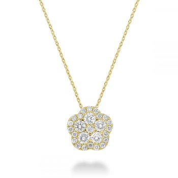 Hollow Flower Diamond Pendant