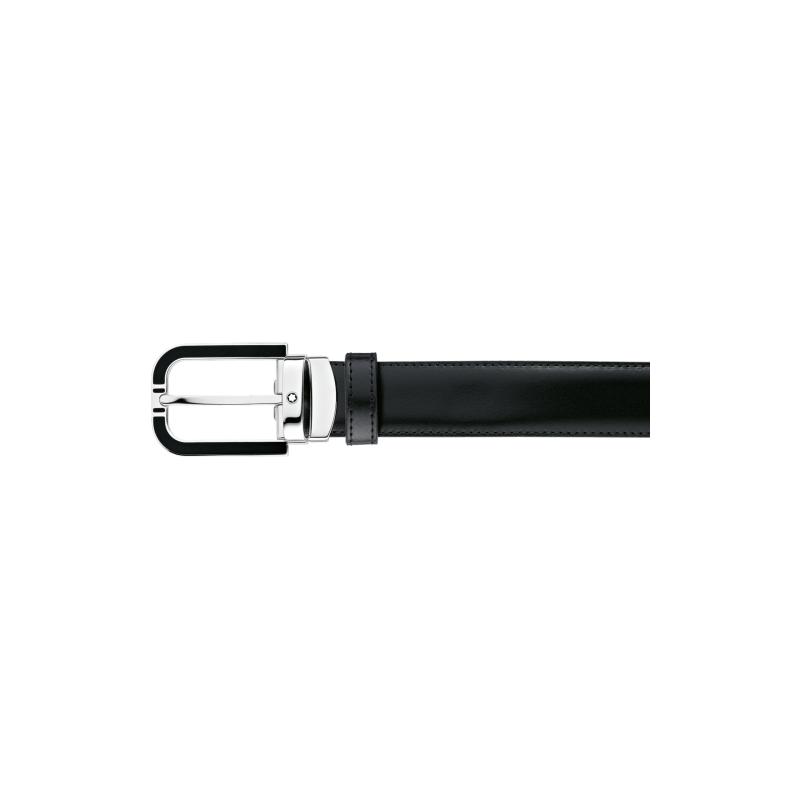 Montblac Horseshoe Shiny Palladium Coated with Black Inlay Reversible Leather Black/Brown Belt