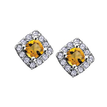 Citrine and Diamond Halo Earrings