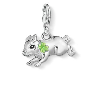 Charm Pendant Little Pig With Cloverleeaf