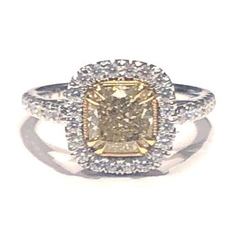 Halo Yellow Diamond Engagement Ring