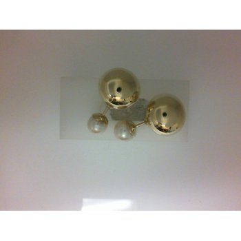Gold Ball And Pearl Studs