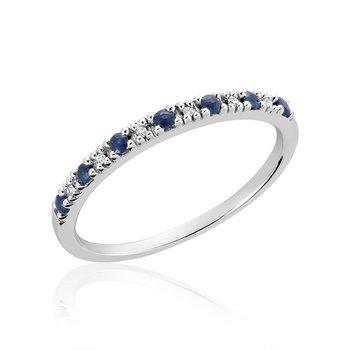 Pave Blue Sapphire & Diamond Ring