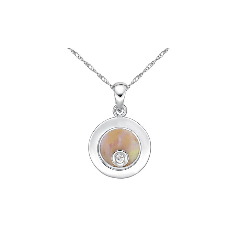 The Collection Mother Of Pearl And Diamond Pendant