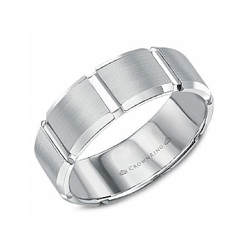 Sandpaper Grooved Wedding Band
