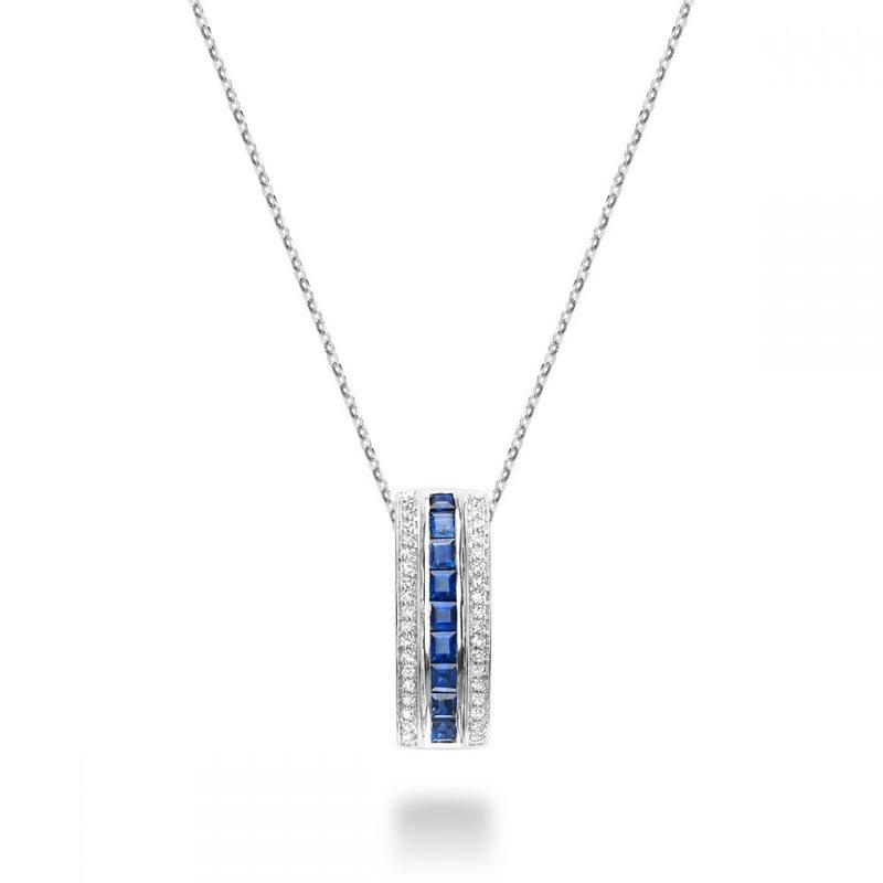 RNB Bijoux Jewellery Blue Sapphire & Diamond Pendant