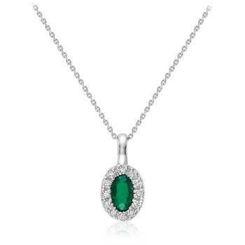 Oval Emerald & Diamond Halo Pendant