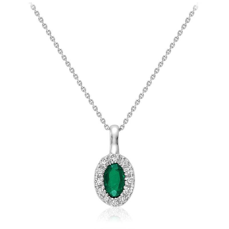 RNB Bijoux Jewellery Oval Emerald & Diamond Halo Pendant