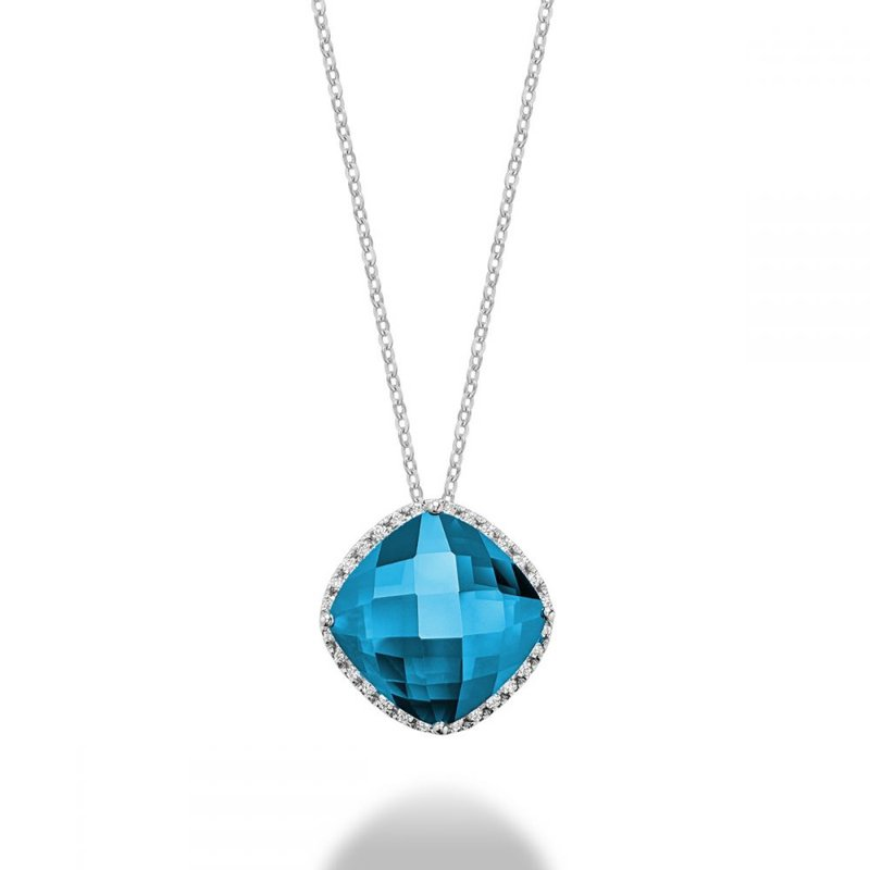 RNB Bijoux Jewellery Cushion Cut Blue Topaz & Diamond Halo Pendant