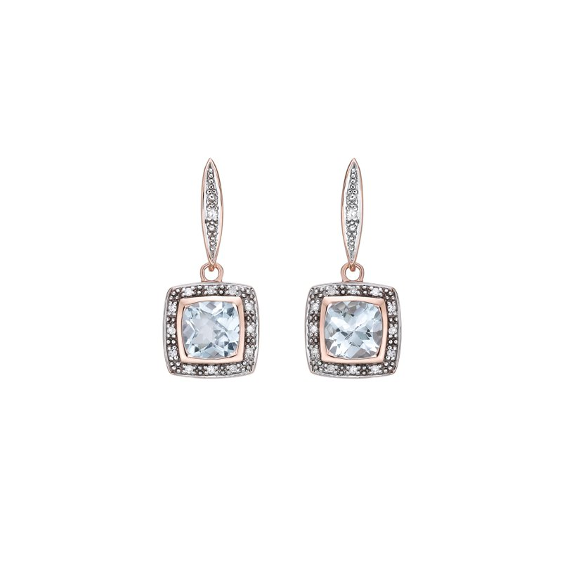 The Collection Blue Topaz And Diamond Drop Earrings