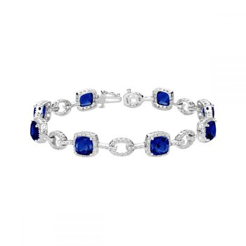 Created Sapphire and Diamond Bracelet