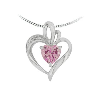Created Pink Topaz And Diamond Pendant