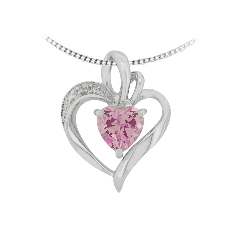 The Collection Created Pink Topaz And Diamond Pendant