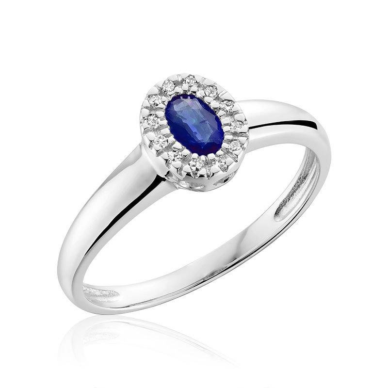 RNB Bijoux Jewellery Oval Blue Sapphire & Diamond Halo Ring