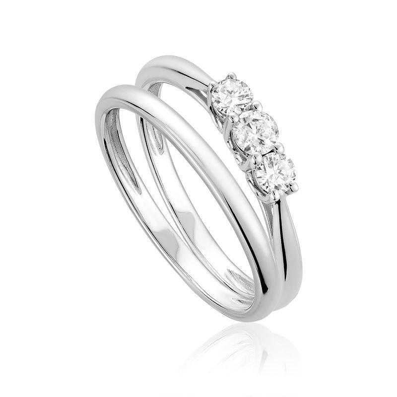RNB Bijoux Jewellery Three Stone Solitaire Diamond Engagement Ring Set
