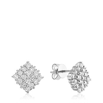 Pave Square Diamond Earrings