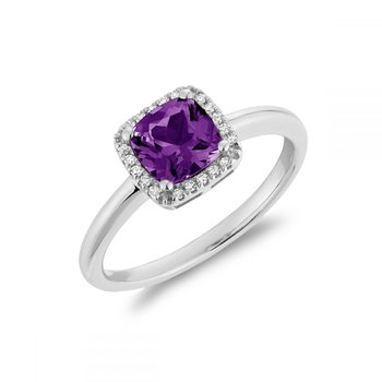 Cushion Cut Amethyst & Diamond Halo Ring