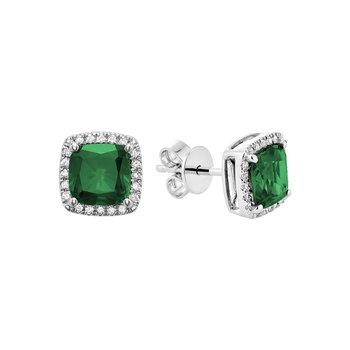 Created Emerald And Diamond Stud Earrings
