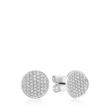 Curved Disk Diamond Stud Earrings