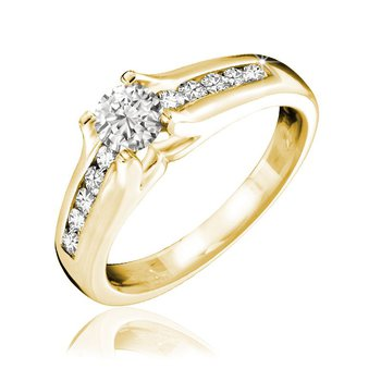 Channel Set Solitaire Diamond Ring