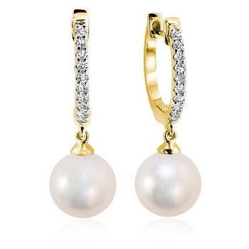 Cultured Freshwater & Diamond Dangle Earrings