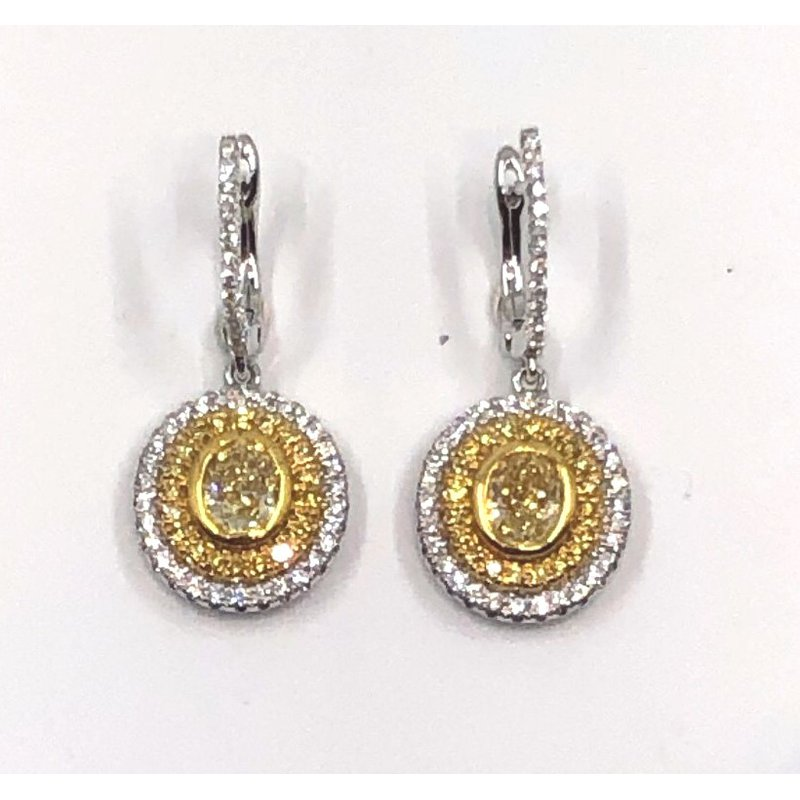 The Collection Yellow And White Diamond Drop Earrings