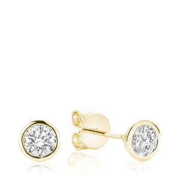 Diamond & Bezel Stud Earrings