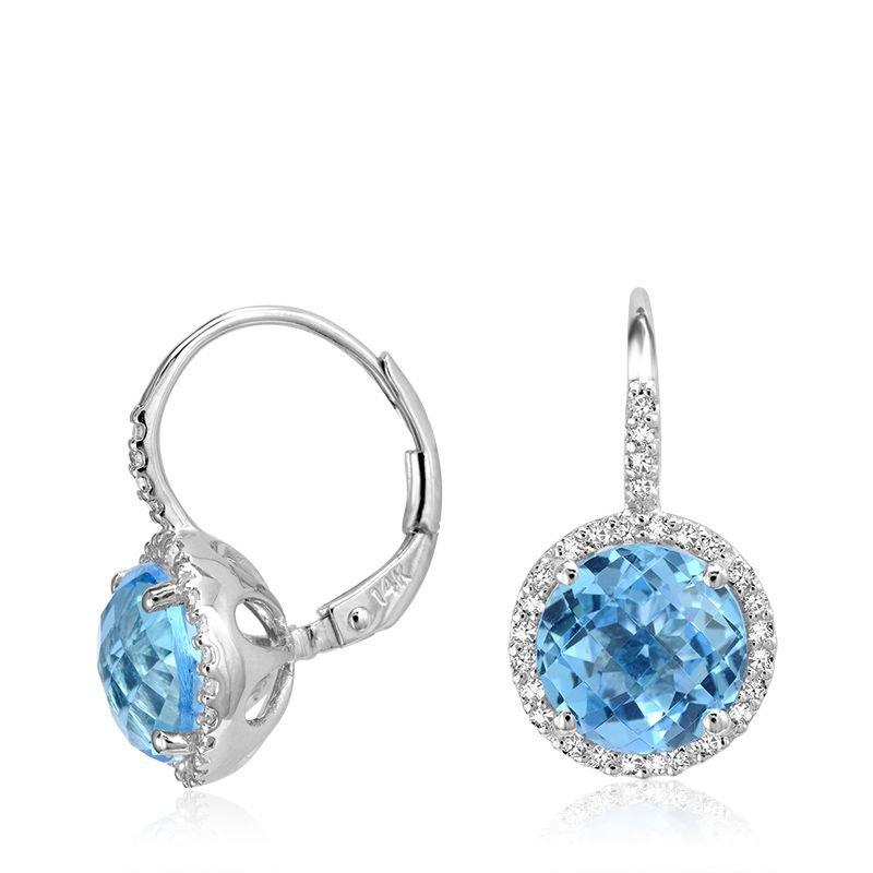 RNB Bijoux Jewellery Blue Topaz & Diamond Halo Dangle Earrings