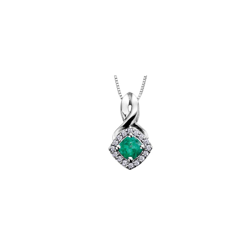 The Collection Emerald and Diamond Halo Pendant