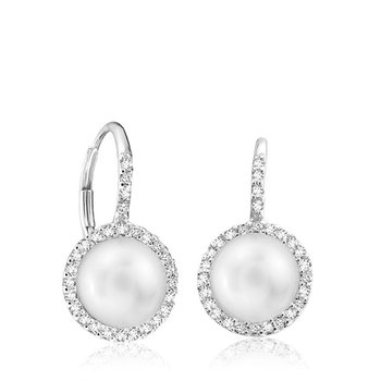 Cultured Freshwater Pearl & Diamond Halo Dangle Earrings