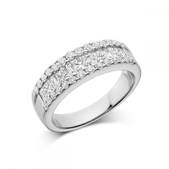 Wide Channel Set Princess Cut Diamond Wedding Band