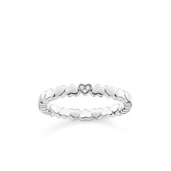 "Sterling Silver Diamond Ring ""Hearts"""
