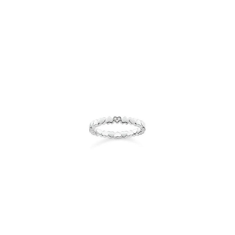 """Thomas Sabo Sterling Silver Diamond Ring """"Hearts"""""""