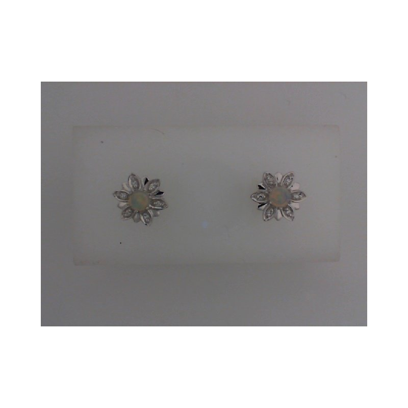 The  Collection Opal And Diamond Stud Earrings